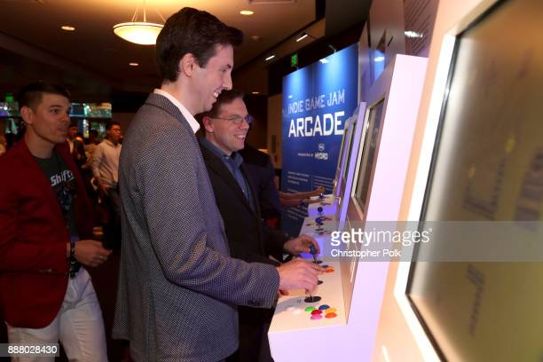 Josh Sanderson Nick Popovich and Mike Thomas attend the 'Indie Game Jam Arcade Presented by Schick Hydro' at The Game Awards 2017 at Microsoft...