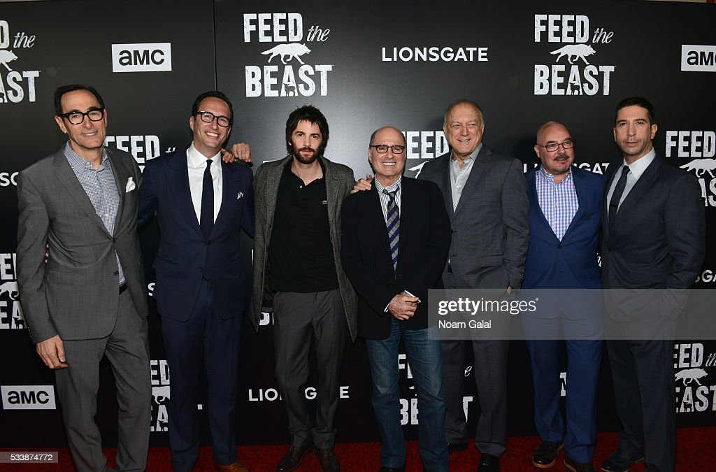 Josh Sapan, AMC President Charlie Collier, actor Jim Sturgess, Clyde Phillips, John Doman, Joel Stillerman, and actor David Schwimmer attend the AMC's Feed The Beast Premiere on May 23, 2016 in New York City.