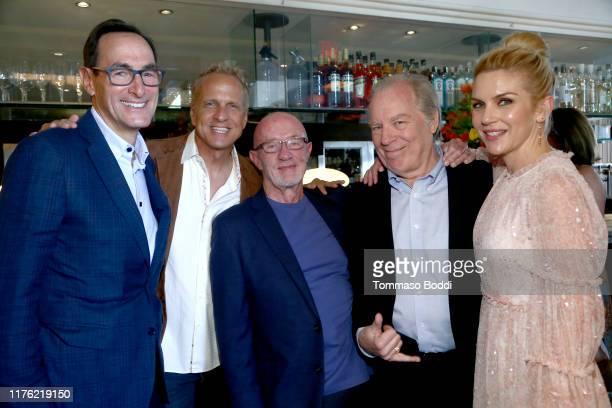 Josh Sapan, Patrick Fabian, Jonathan Banks, Michael McKean and Rhea Seehorn attend AMC Emmy Brunch 2019 on September 21, 2019 in West Hollywood,...