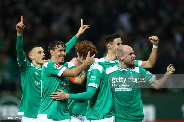 Josh Sargent of SV Werder Bremen celebrates scoring the third goal during the Bundesliga match between SV Werder Bremen and Fortuna Duesseldorf at...