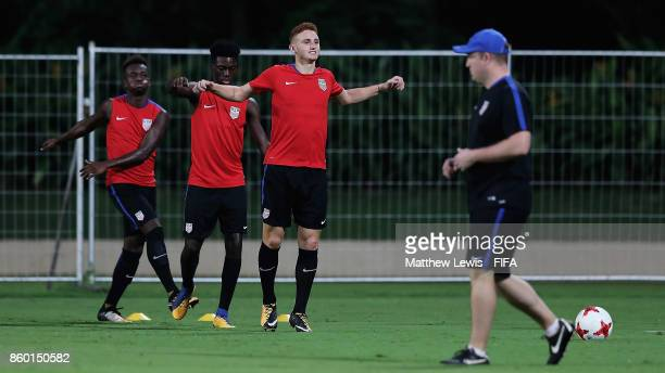 Josh Sargent of the United States in action during a training session ahead of the FIFA U17 World Cup India 2017 tournament at DY Patil Stadium on...