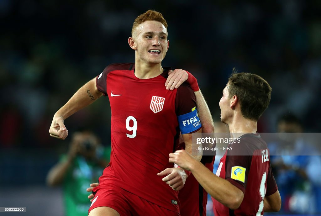 Josh Sargent of United States of America celebrates his teams opening goal during the FIFA U-17 World Cup India 2017 group A match between India and USA at Jawaharlal Nehru Stadium on October 6, 2017 in New Delhi, India.