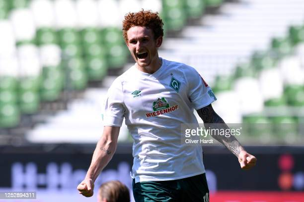 Josh Sargent of Werder Bremen celebrates after he scores his teams sixth goal during the Bundesliga match between SV Werder Bremen and 1 FC Koeln at...