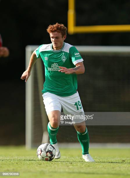Josh Sargent of Werder Bremen controls the ball during the friendly match between OSC Bremerhaven and Werder Bremen on July 10 2018 in Bremerhaven...