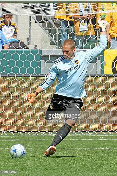 Josh Saunders of the Los Angeles Galaxy takes a goal kick during the MLS game against DC United at Home Depot Center on March 22 2009 in Carson...