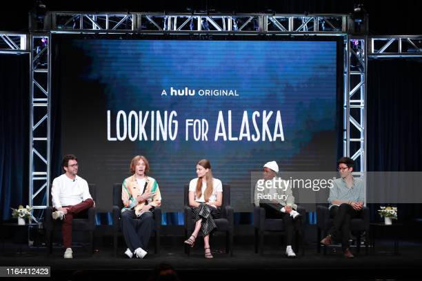 Josh Schwartz Charlie Plummer Kristine Froseth Denny Love and Jay Lee of 'Looking for Alaska' speak onstage during the Hulu segment of the Summer...