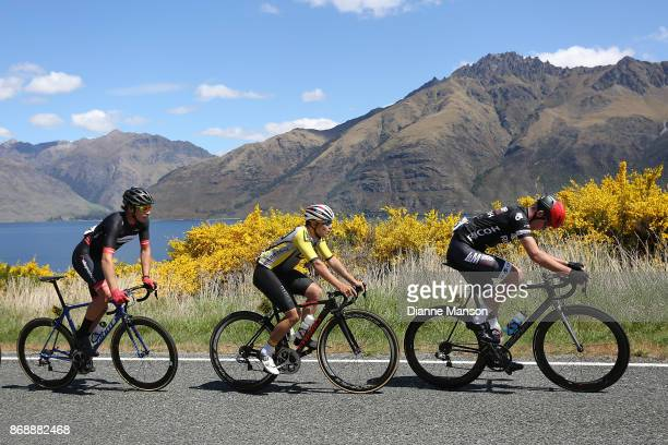 Josh Scott of Christchurch Creation Signs L M Group Ricoh leads out front around the Devils Staircase towards Frankton during stage 3 from Mossburn...