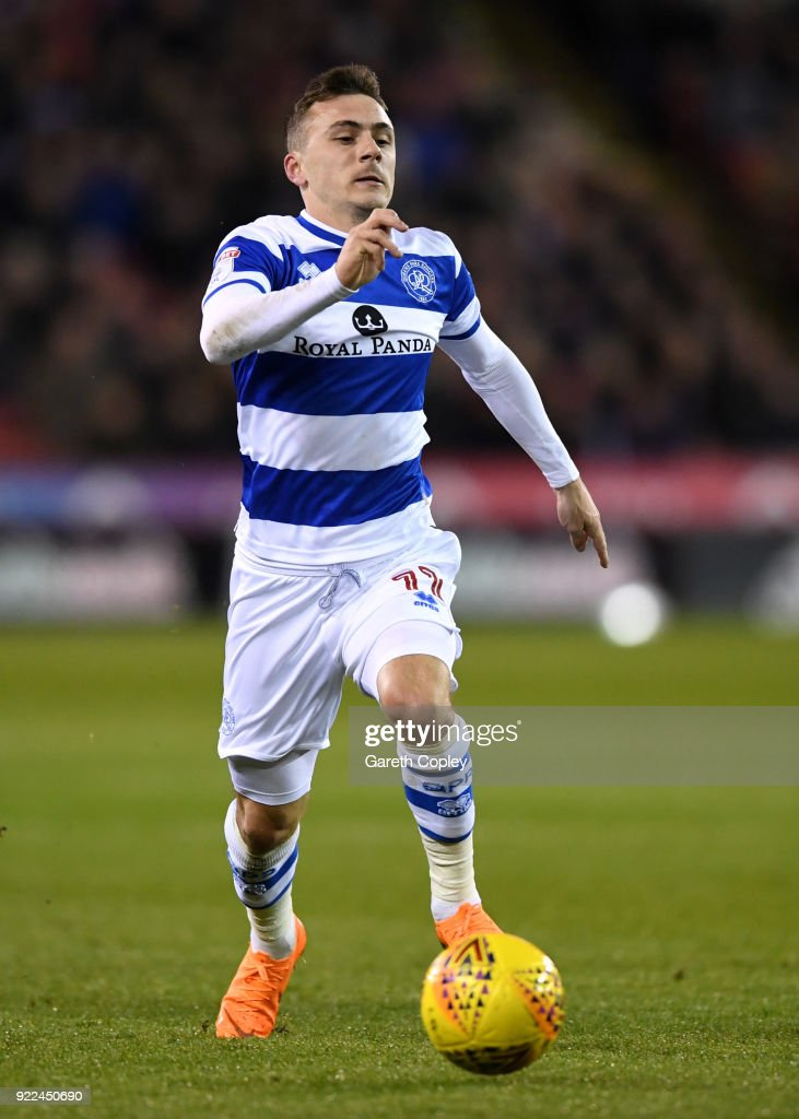 Josh Scowen of QPR during the Sky Bet Championship match between Sheffield United and Queens Park Rangers at Bramall Lane on February 20, 2018 in Sheffield, England.