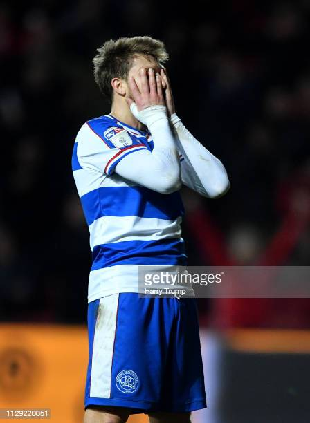 Josh Scowen of Queens Park Rangers reacts after the Bristol City goal during the Sky Bet Championship match between Bristol City and Queens Park...