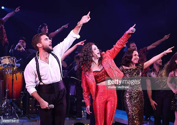 Josh Segarra Ana Villafane Andrea Burns and cast during the Broadway opening night curtain call bows for 'On Your Feet' at the Marquis Theatre on...
