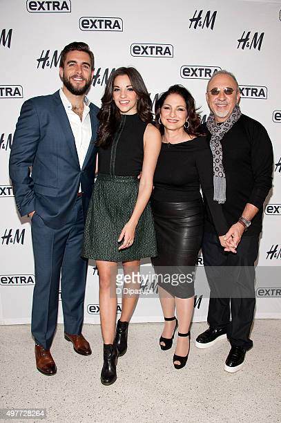 Josh Segarra Ana Villafane Gloria Estefan and Emilio Estefan visit 'Extra' at their New York Studios at HM in Times Square on November 18 2015 in New...