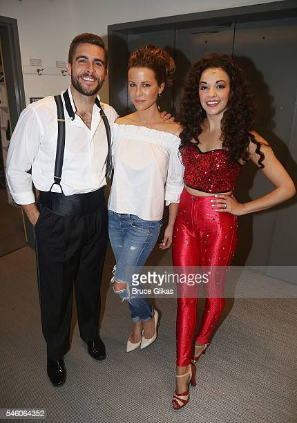 Josh Segarra as 'Emilio Estefan' Kate Beckinsdale and Ana Villafane as 'Gloria Estefan' pose backstage at the hit Emilio Gloria Estefan musical 'On...