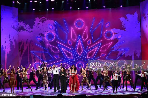 Josh Segarra Gloria Estefan and Ana Villafane of 'On Your Feet' perform onstage during the 70th Annual Tony Awards at The Beacon Theatre on June 12...
