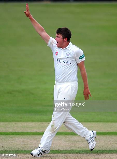 Josh Shaw of Gloucestershire celebrates after dismissing Ryan Ten Doeschate of Essex during Day Two of the Specsavers County Championship Division...