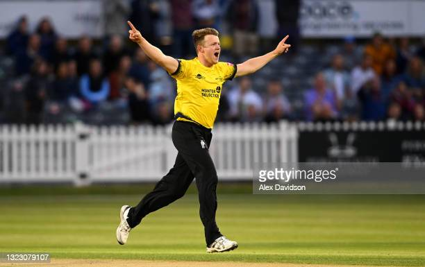 Josh Shaw of Gloucestershire celebrates taking the wicket of David Wiese of Sussex during the Vitality T20 Blast match between Gloucestershire and...