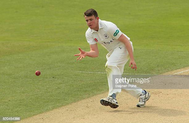 Josh Shaw of Gloucestershire in action fielding during day two of the Specsavers County Championship match between Essex and Gloucestershire at the...