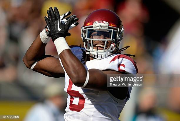 Josh Shaw of the USC Trojans celebrates after returning a blocked punt for a touchdown against the California Golden Bears during the second quarter...