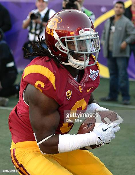 Josh Shaw of the USC Trojans intercepts a pass in the end zone against the Fresno State Bulldogs during the Royal Purple Las Vegas Bowl at Sam Boyd...