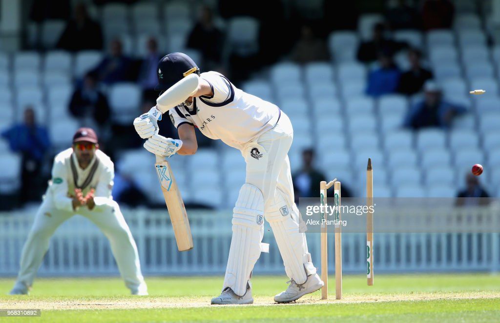 Josh Shaw of Yorkshire is bowled out by Sam Curran of Surrey during day four of the Specsavers County Championship Division One match between Surrey and Yorkshire at The Kia Oval on May 14, 2018 in London, England.
