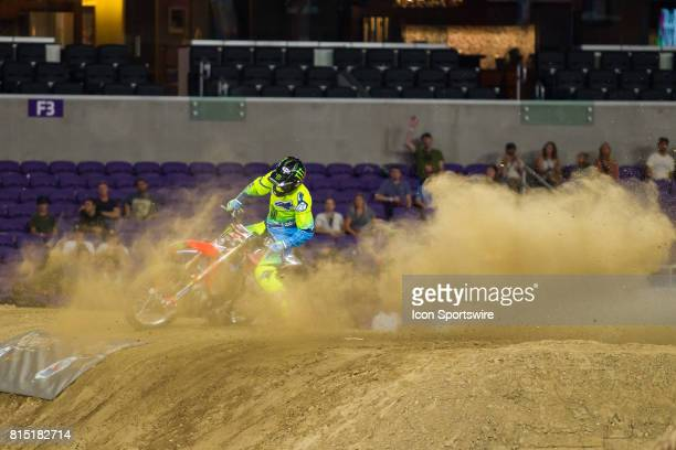 Josh Sheehan does a donut after his 2nd run during Moto X Frestyle at X Games Minneapolis on July 14 2017 at US Bank Stadium in Minneapolis Minnesota
