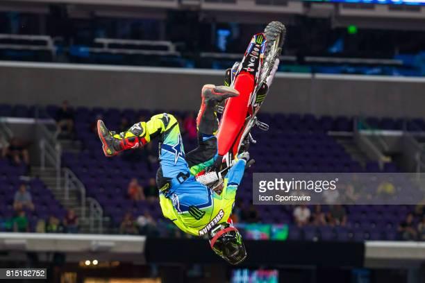 Josh Sheehan flips for his 2nd run during Moto X Freestyle at X Games Minneapolis on July 14 2017 at US Bank Stadium in Minneapolis Minnesota