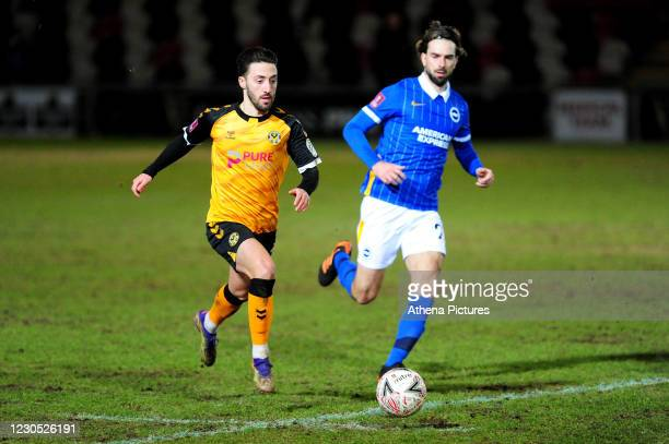 Josh Sheehan of Newport County in action during the FA Cup Third Round match between Newport County and Brighton And Hove Albion at Rodney Parade on...