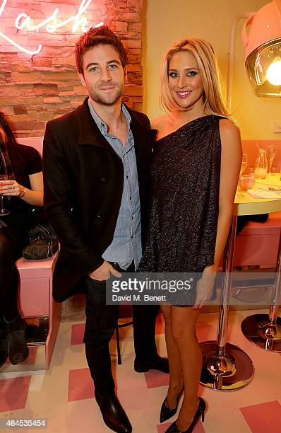 Josh Shepherd and Stephanie Pratt attend the launch of 'Curl's Best Friend' a popup curl and cocktail parlour on Greek Street London by Benefit...