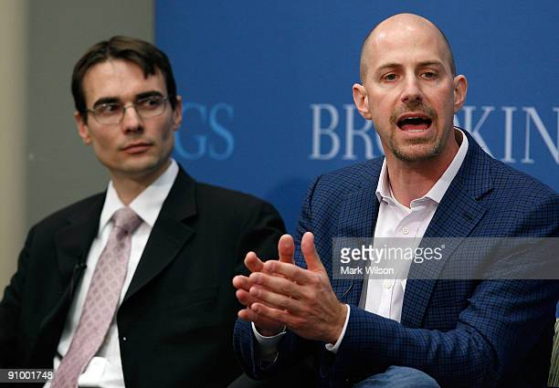 Josh Silverman CEO of Skype Technologies and Ben Scott policy director of Free Press participate in a discussion at the Brookings Institution on...