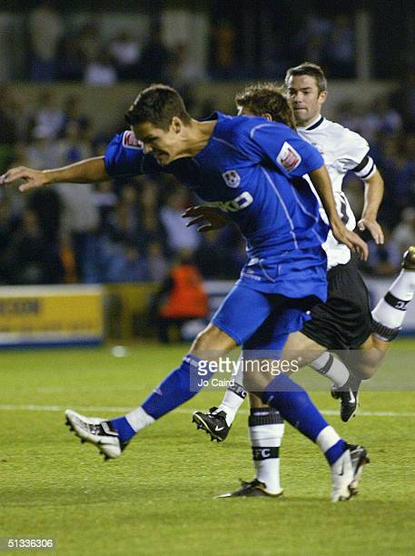 Josh Simpson of Millwall scores during the CocaCola Championship League match between Millwall and Derby County at the New Den on September 22 2004...