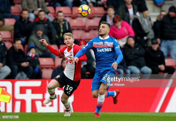 Josh Sims of Southampton and Konstantinos Stafylidis of Stoke during the Premier League match between Southampton and Stoke City at St Mary's Stadium...