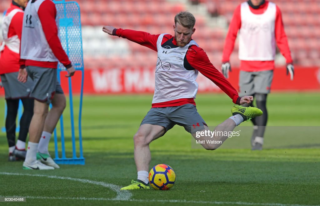 Josh Sims of Southampton FC during a training session at St. Mary's Stadium on February 22, 2018 in Southampton, England.