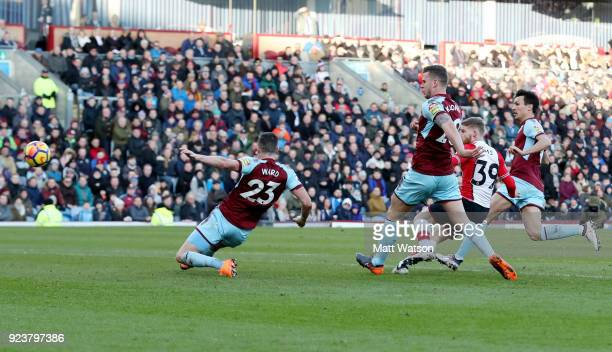 Josh Sims of Southampton shoots at goal during the Premier League match between Burnley and Southampton at Turf Moor on February 24 2018 in Burnley...