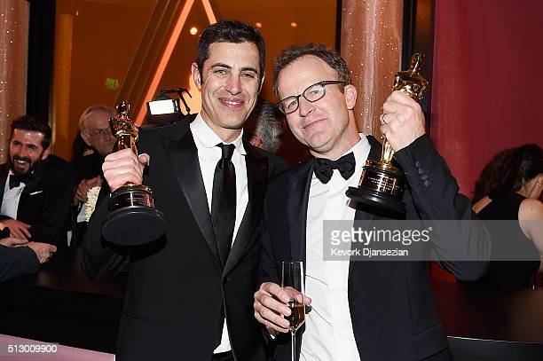 Josh Singer and Tom McCarthy, winners of the award for Best Original Screenplay for 'Spotlight,' attend the 88th Annual Academy Awards Governors Ball...