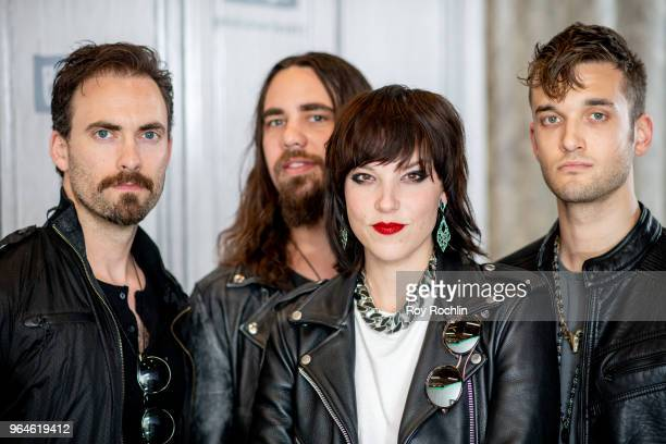 Josh Smith Joe Hottinger Lzzy Hale and Arejay Hale of Halestorm discuss Vicious with the Build Series at Build Studio on May 31 2018 in New York City