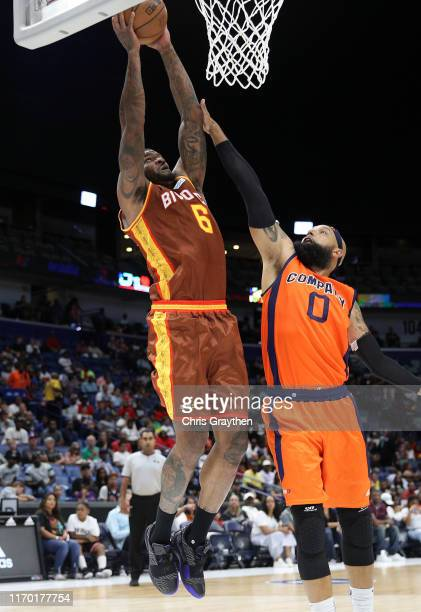 Josh Smith of Bivouac goes for a lay up as Drew Gooden of 3's Company defends during the BIG3 Playoffs at Smoothie King Center on August 25, 2019 in...