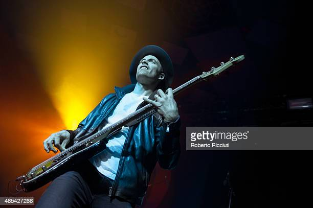 Josh Smith of Halestorm performs on stage at Barrowlands Ballroom on March 6, 2015 in Glasgow, United Kingdom.