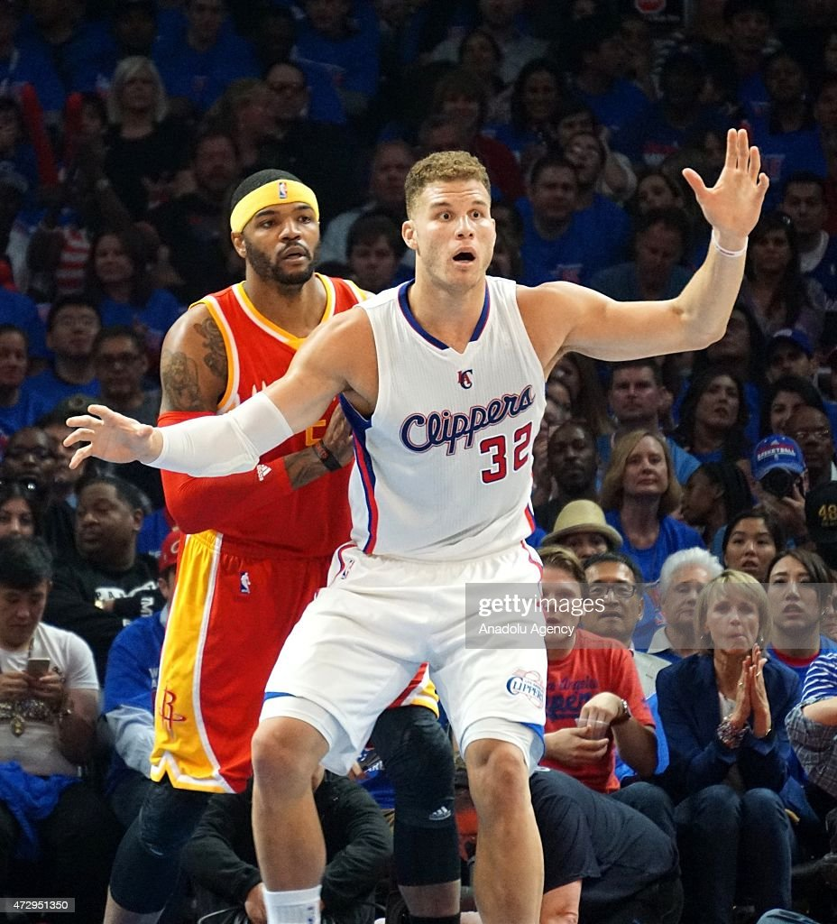 Josh Smith of Houston Rockets (L) and Blake Griffin of Clippers (R) in action during the NBA playoff game between Houston Rockets and Los Angeles Clippers at the Stapless Center, Los Angeles on May 10, 2015.