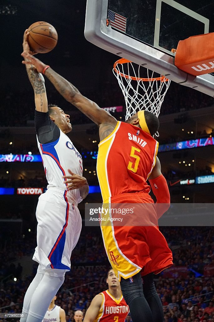 Josh Smith of Houston Rockets (R) and Matt Barnes of Clippers (L) in action during the NBA playoff game between Houston Rockets and Los Angeles Clippers at the Stapless Center, Los Angeles on May 10, 2015.