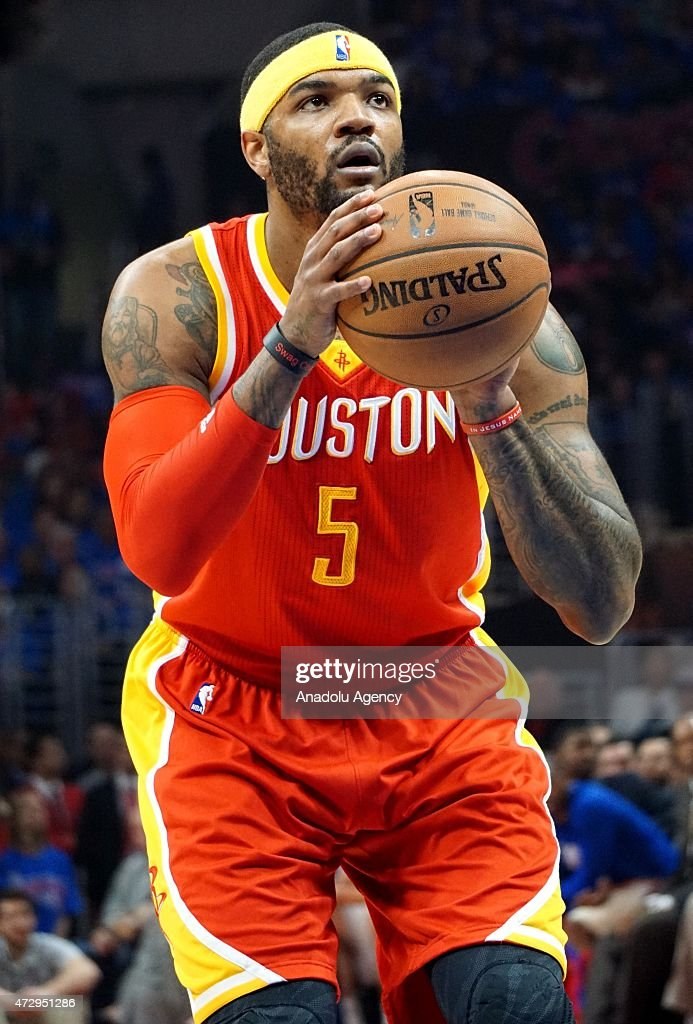 Josh Smith of Houston Rockets in action during the NBA playoff game between Houston Rockets and Los Angeles Clippers at the Stapless Center, Los Angeles on May 10, 2015.