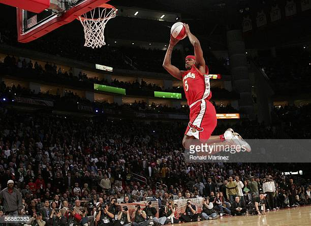 Josh Smith of the Atlanta Hawks goes up for a dunk in the Sprite Rising Stars Slam Dunk competition during NBA AllStar Weekend at the Toyota Center...