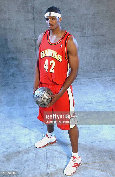 Josh Smith of the Atlanta Hawks poses for a portrait during the 2004 NBA Rookie Shoot at the Madison Square Garden Training Facility on August 2,...