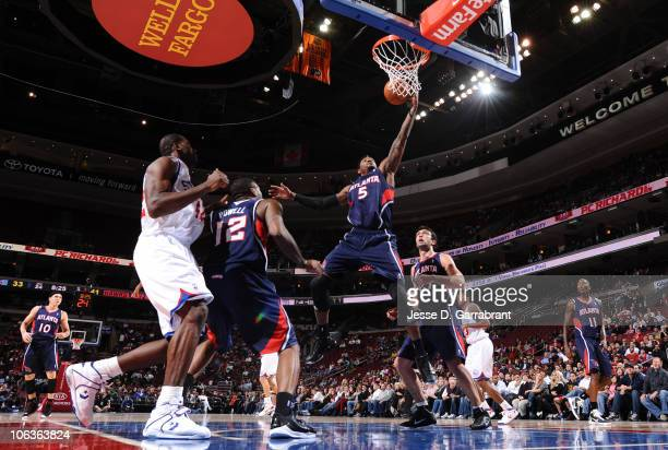 Josh Smith of the Atlanta Hawks rebounds the ball against the Philadelphia 76ers during the game on October 29 2010 at the Wells Fargo Center in...