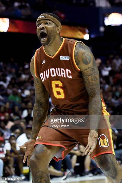 Josh Smith of the Bivouac reacts in the second half against the Killer 3's during week seven of the BIG3 three on three basketball league at Allstate...