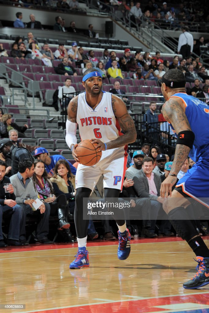 Josh Smith #6 of the Detroit Pistons controls the ball against against the New York Knicks on November 19, 2013 at The Palace of Auburn Hills in Auburn Hills, Michigan.