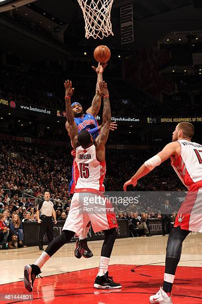 Josh Smith of the Detroit Pistons shoots against the Toronto Raptors on January 8 2014 at the Air Canada Centre in Toronto Ontario Canada NOTE TO...