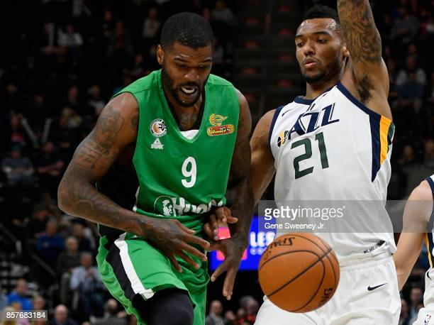 Josh Smith of the Maccabi Haifa loses the ball while being defended by Joel Bolomboy of the Utah Jazz during the second half of the 11778 win by the...