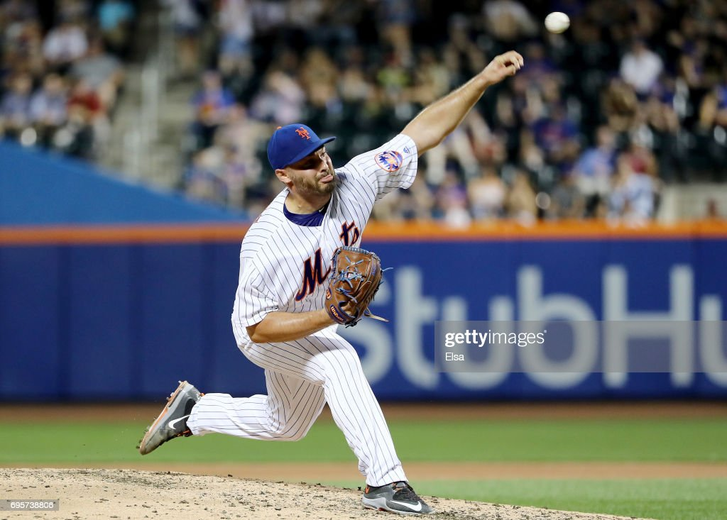 Josh Smoker #49 of the New York Mets delivers a pitch in the sixth inning against the Chicago Cubs on June 13, 2017 at Citi Field in the Flushing neighborhood of the Queens borough of New York City.