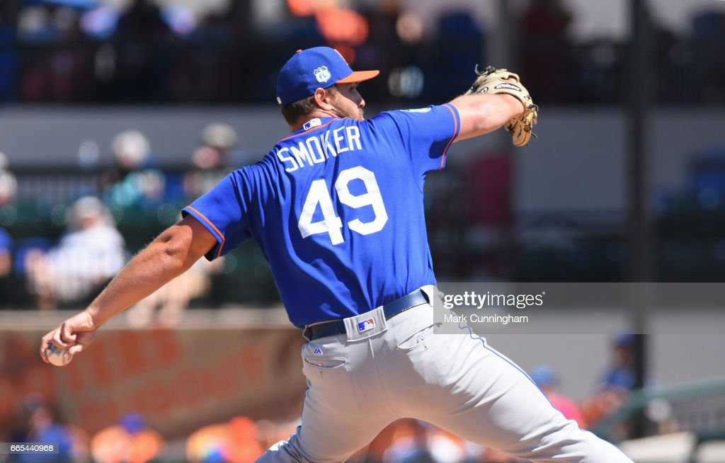 Josh Smoker #49 of the New York Mets pitches during the Spring Training game against the Detroit Tigers at Publix Field at Joker Marchant Stadium on March 20, 2017 in Lakeland, Florida. The Tigers defeated the Mets 5-1.