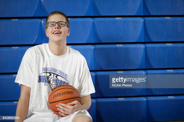 Josh Speidel poses for a portrait in his high school gym in Columbus Ind AJ Mast/ NCAA Photos via Getty Images