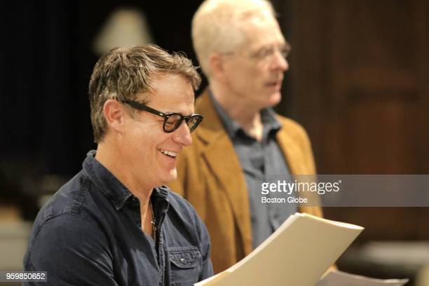 """Josh Stamberg is pictured with John Hickok during rehearsal for Huntington Theatre Company's world premiere of """"Fall"""" in Boston on April 24, 2018...."""
